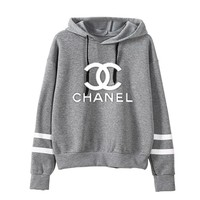 """Chanel"" Women Sport Casual Stripe Multicolor Letter Print Long Sleeve Hooded Sweater Sweatshirt Hoodie Tops"