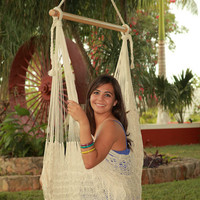 Large Hammock Chair Swing. Cotton or Nylon. Thick Cord. Handmade woven knit. NATURAL. Christmas sale: FREE hanging ropes!
