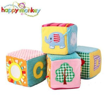 DCCKFS2 4 PCS Baby Soft Play Activity Block Grasp Cube Set Crinkle Rattle Bell Sound Educational Toys for Children Kids Newborn Gift
