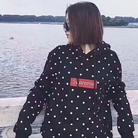 High quality Supreme print dots embroidering logo hoodie long sleeve top sweater black I-YQ-ZLHJ