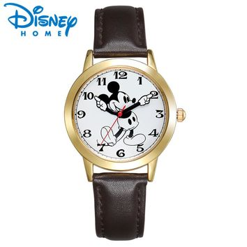 Original Disney Mickey Mouse Unisex Gold Silver Brown Leather Classic Moving Gloved Hands Watch