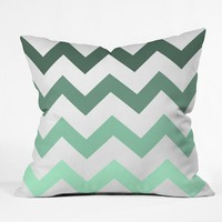 Shannon Clark Mint Chevron Stripes Throw Pillow