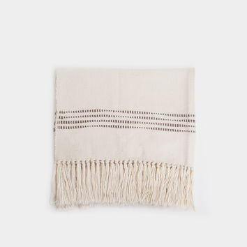 Striped Throw Blanket - Natural/Grey