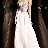 Strapless Jeweled Bodice Prom Gown by Sherri Hill