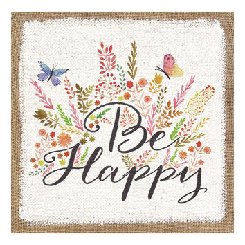 """Be Happy"" Burlap Wall Art"