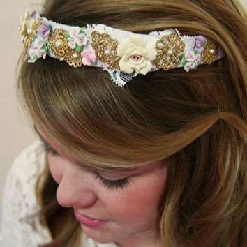 Dolce & Gabbana inspired headband, crown, tiara - Baroque, floral, roses, pearls, gold filigree, white lace, bridal, couture