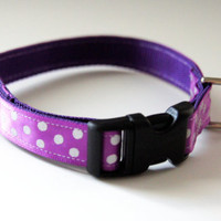 Purple Polka Dot Dog Collar Adjustable Sizes (XS, S, M)