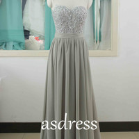 Gray bridesmaid dresses Chiffon Bridesmaid Dress Round-neck Bridesmaid dress  Long Prom Dress mint Gray Lace bridesmaid gowns A-line wedding