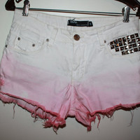 Dipdyed and Studded White Jean Shorts by aPlanetaryShift on Etsy