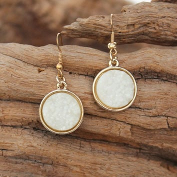 Round Druzy Earrings, White