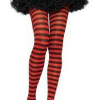 Black & RED Striped Tights Gothic Punk EMO Club Lolita