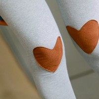 Lovely Heart Patches Leggings Grey from 1Point99.com