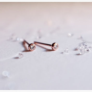Rose Gold Diamond Studs - Bezel Set 14k Diamond Earrings - Gift For Her - Forever Classic - Simple Minimalist Everyday Jewelry LITTIONARY
