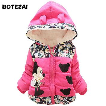 Minnie Hoodies Jacket & Coat Baby Girls Clothes Kids Toddle Outerwear Warm Coat Age 1-4T