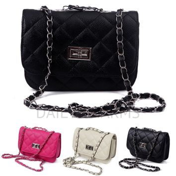 Womens Small Fashion Purse Club Party Hand Bag Quilted Clutch Shoulder Crossbody