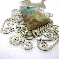 Peruvian Opal Necklace, Opal Stone Necklace, Elaborate Wire Necklace