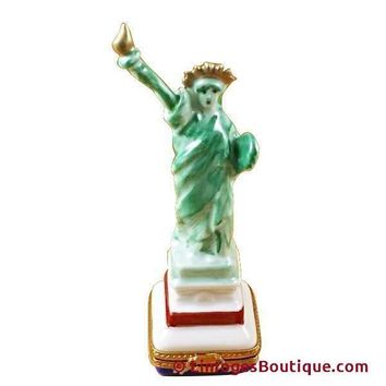 Green Statue Of Liberty Limoges Box