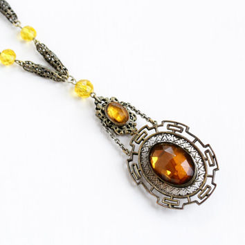 Vintage Art Deco Simulated Citrine Pendant Necklace - 1930s Brass Orange Yellow Faceted Glass Lavalier Filigree Geometric Costume Jewelry