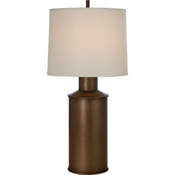 Trend TT7230-46 Chivalry Hand Painted Weathered Bronze One-Light Table Lamp with Off-White Homespun Linen Shade