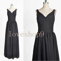 2014 Long Black Chiffon Prom Dress Evening Party Homecoming Bridesmaid Cocktail Formal Dress New Arrival Lovely Bridesmaid Dress