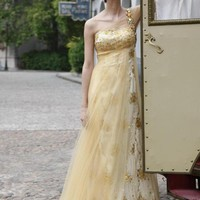One Shoulder Yellow Layered Evening Dress