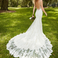 Vestido De Noiva Lace Wedding Dress 2016 V-Neck Spaghetti Straps Sleeveless Backless Court Train Sexy Lace Applique Brides Dress