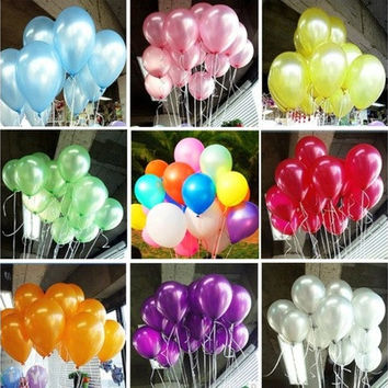 100pcs 10 inch Colorful Pearl Latex Balloon Celebration Party Wedding Birthday [7983471431]