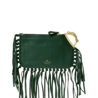 Griffon-handle fringed leather clutch