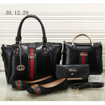 DCCKR2 GUCCI NEW Counter Women s Exquisite Four Piece Messenger Bag/Shoe F-KSPJ-BBDL Pure Black