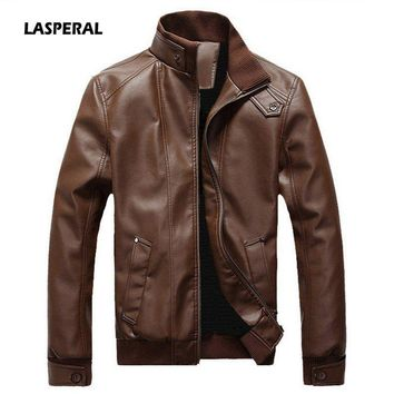 LASPERAL Men's PU Jackets Coats Motorcycle Leather Jacket Men Autumn Spring Faux Leather Clothing Male Casual Clothes Plus Size