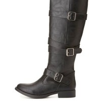 Belted Flat Riding Boots by Charlotte Russe - Black
