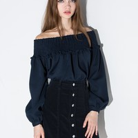 Navy Off the Shoulder Babydoll top