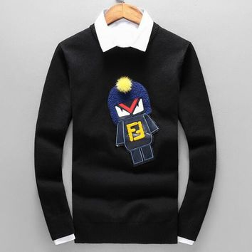 FENDI Autumn Winter New Fashion Women Men Cute Embroidery Small Monsters Long Sleeve Sweater Top Sweatshirt Black