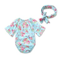 Summer 2017 Newborn Infant Baby Girl Clothes Floral Romper Jumpsuit+Headband Outfits Sunsuit Clothes
