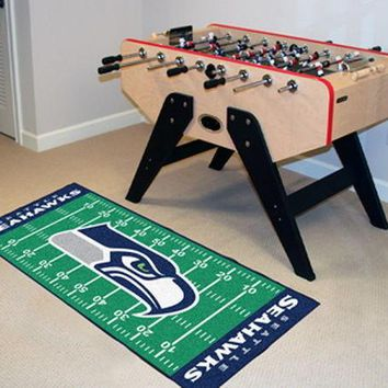 FANMATS Seattle Seahawks Field Runner Mat Area Rug, Man Cave, Bar, Game Room