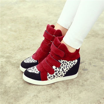 Korean Style Women Autumn High-cut Wild inside heighten Velcro Canvas Red Leopard Shoes Sneakers