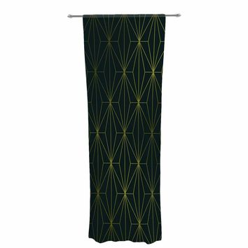 "Pia Schneider ""PASSIONATE GREEN GEOMETRICAL"" Green Gold Pattern Geometric Vector Digital Decorative Sheer Curtain"