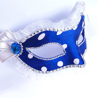 Venetian Style Masquerade Mask - Polka Dot Fabric Covered And Beaded - White/Deep Blue