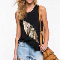 Feather Print Round Neck Top