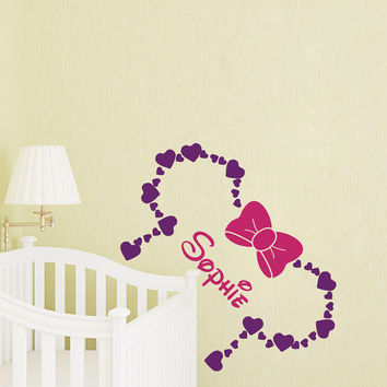 Wall Decal Name Minnie Mouse Bow Head Ears Vinyl Decals Sticker Custom Decals Personalized Baby Girl Name Art Nursery Baby Room Decor T161