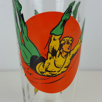 Vintage Aquaman Moon Glass Pepsi DC Comics Super Series 1976 Bright Colors Aquaman Marvel Collectible Glass Drinking Glass Super Heroes Hero