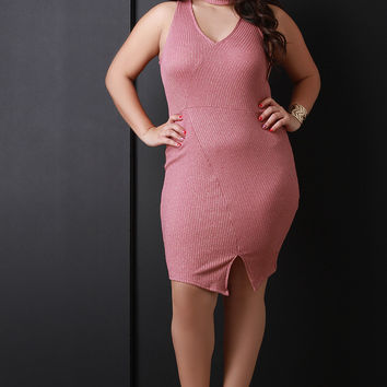 Asymmetrical V Neck Rib Knit Dress