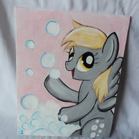 "Derpy Hooves Bubbles Art Painting Canvas Acrylics Flat 8"" x 10"""