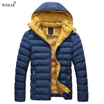 WZZAE 2017 New Fashion Mens Autumn Winter Jacket Hooded Wadded Coat Outerwear Male Slim Casual Cotton Down Jacket