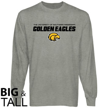 Southern Miss Golden Eagles On Point Big and Tall Long Sleeve T-Shirt - Ash