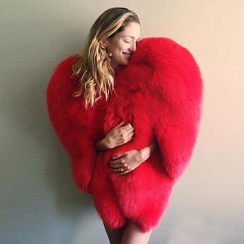 Stylish 3D Red Love Heart Shaped Cape Faux Fox Fur Thick Warm Celebrity Women Long Hairy Shaggy Coat Jacket Outerwear Winter Top