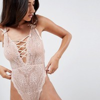 ASOS DESIGN Blossom Plunge Lace bodysuit at asos.com