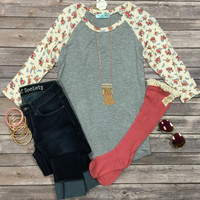 Floral Baseball Tee: Grey/ Ivory