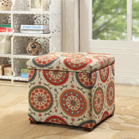 Multi Color Suzani Storage Ottoman