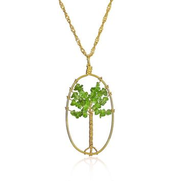 Tree Life Green Stone Prehnite Oval Pendant Necklace Gold Tone Wire